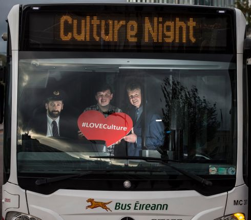 CULTURAL TOUR: Pat O'Hanlon, Edward McCarthy and Tim O'Leary preview a Bus Éireann Cork Culture Night bus ahead of Cork Culture Night. Photograph: Cathal Noonan