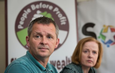 PARTY BROADCAST: Richard Boyd Barrett and Ruth Coppinger attend a Solidarity-People Before Profit press conference at the Mont Clare Hotel, Dublin. Photograph: Gareth Chaney/Collins