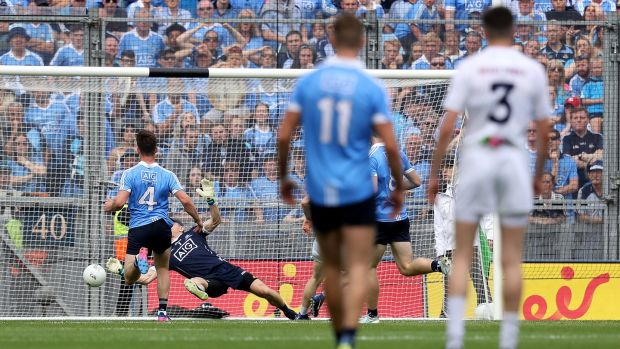 Stephen Cluxton makes a save from Daniel Flynn's shot in the Leinster final. Photograph: Tommy Dickson/Inpho