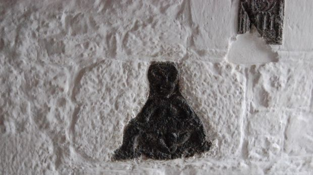 A carving of a Sheela na Gig at Bunratty Castle, Co Clare