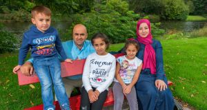 Izzeddeen and Eman Alkarajeh with their children Omar, Jouri and Lama. Izzeddeen, a Palestinian from the west bank who moved here from Saudi Arabia with his wife and children last year and is living in direct provision in Cork. Photograph: Michael Mac Sweeney/Provision