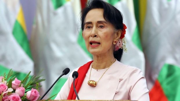 Aung San Suu Kyi, who leads Myanmar's civilian government but does not control the military. Photograph: Aung Shine Oo/AP