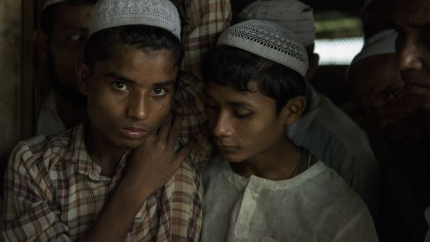 Two Rohingya Muslims photographed at a camp for internally displaced people in Sittwe, Myanmar, in September, 2014. Photograph: Brenda Fitzsimons