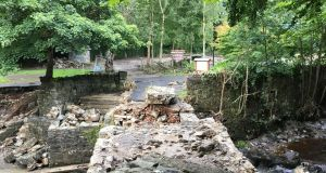 Further indication of how climate change is intensifying storms; the remnants of Wilson's Bridge in Swan Park, Buncrana, Co Donegal, after extreme floods in August. Photograph: Peter Murtagh