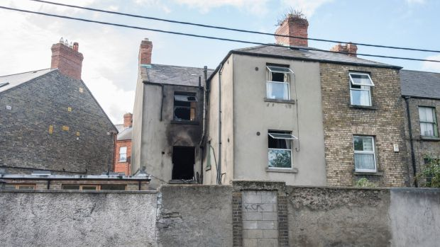 Grove Park fire: The fire is believed to have broken out on the middle floor, and the deceased man is understood to have been staying on the top floor. Photograph: Brenda Fitzsimons/The Irish Times