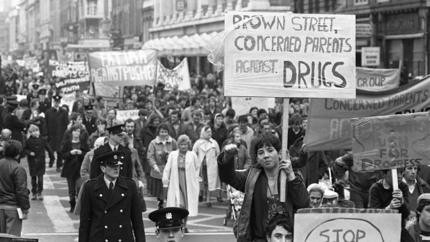 Concerned Parents against drug pushers march along O Connell St in Dublin to Government buildings to hand in a letter outlining their objectives, 29/02/1984 (Part of the Independent Newspapers Ireland/NLI Collection). (Photo by Independent News and Media/Getty Images)