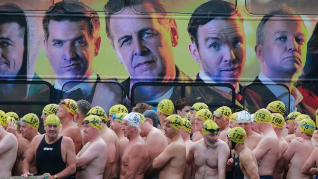 Male competitors gather at the start on Dublin's Victoria Quay. Photograph: Nick Bradshaw/The Irish Times