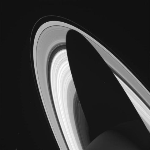 An image taken by  Cassini  on July 3rd, 2004, shows Saturn casting a shadow over its rings. Photograph: Reuters/Nasa/JPL-Caltech