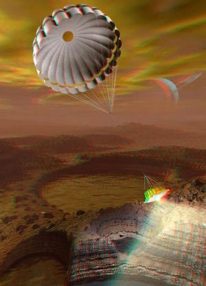 An artist's conception of the European Space Agency's Huygens Probe as it descends to Saturn's moon Titan after release from the Cassini orbiter spacecraft in January 2005. The probe landed on Titan on January 14th. Photograph: Reuters/Nasa/JPL