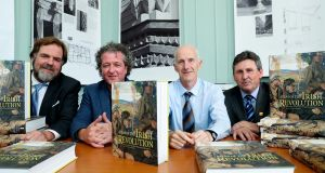 Associate editors Dr John Borgonovo, Donal Ó Drisceoil, Mike Murphy and John Crowley  launching  the 'Atlas of the Irish Revolution' in Dublin. Photograph:  Maxwell Photography