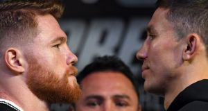 Canelo Alvarez  and WBC, WBA and IBF middleweight champion Gennady Golovkin face off during a news conference at MGM Grand Hotel & Casino  in Las Vegas on Wednesday ahead of their fight on Saturday.  Photograph:  Ethan Miller/Getty Images