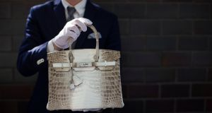 A  Hermes diamond and Himalayan Nilo Crocodile Birkin handbag, pictured in Beverly Hills, California. Photograph: Mario Anzuoni / Reuters.
