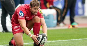 Leigh Halfpenny: will man the fullback berth for Scarlets against Ulster. Photograph: Simon King/Camerasport/Inpho