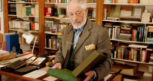 JP Donleavy in his study packing the archive of his work in 2005. Photograph: David Sleator