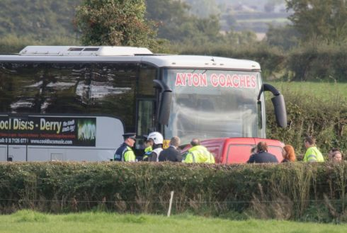 DONEGAL CRASH: The scene near Lifford in Co Donegal where a van collided with a school bus. Photograph: North West Newspix