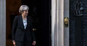 Florence bound: Theresa May at Downing Street. Photograph: Chris J Ratcliffe/AFP/Getty