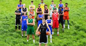 Team representatives from Men's Super League clubs at the official launch of the Basketball Ireland season  at the National Basketball Arena in Tallaght. Photograph: Sam Barnes/Sportsfile