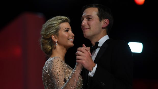 Ivanka Trump and her husband Jared Kushner dance at the Liberty Ball following Donald Trump's inauguration as president in January. Photograph: Jim Watson/AFP/Getty Images