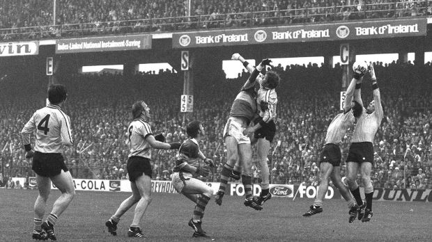 "Action from the 1976 All-Ireland final featuring from left, Dublin's Robbie Kelleher (4), Brian Mullins (8), Kerry's Sean Walsh and Eoin ""Bomber"" Liston and Dublin's Sean Doherty, Kevin Moran and Tommy Drumm. Photograph: Connolly Collection/Sportsfile"