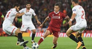 Philippe Coutinho returned to action in Liverpool's Champions League match  against Sevilla and is expected to start against Burnley this weekend. Photograph: Paul Ellis/AFP/Getty Images