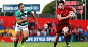 Alex Wootton scored four tries in Munster's last Pro14 outing against  Benetton Treviso. Photograph: Bryan Keane/Inpho