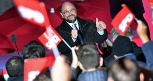 German Social Democrat (SPD) and chancellor candidate Martin Schulz during an election campaign stop  in Munich this week. Photograph: Joerg Koch/Getty Images