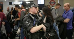 An armed police officer at Euston Station, London, after a terrorist incident at Parsons Green underground station on Friday. Photograph: Tim Ireland/PA Wire