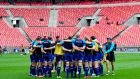 The Leinster players before the game at the Nelson Mandela stadium in Port Elizabeth. Photograph: Ryan Wilkisky/Inpho