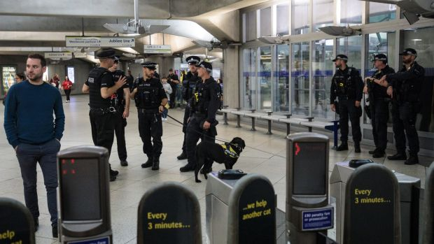 Armed police with a sniffer dog patrol in Westminster Underground station on September 16th, 2017 in London, England. Photograph: Jack Taylor/Getty Images