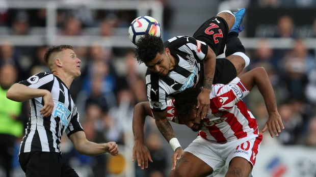 Newcastle United's DeAndre Yedlin in action with Stoke City's Eric Maxim Choupo-Moting. Photograph: Scott Heppell/Reuters