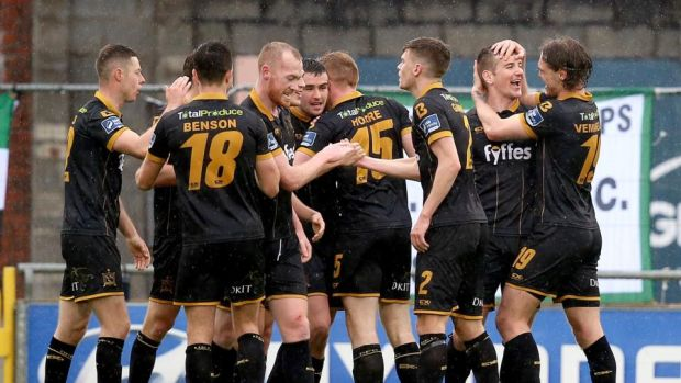 Dundalk's Patrick McEleney celebrates scoring his side's second goal with teammates. Photograph: Tommy Dickson/Inpho