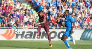 Paulinho scores the winner for Barcelona against Getafe. Photograph:  Denis Doyle/Getty Images