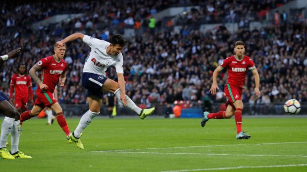 Tottenham's Son Heung-min shoots at goal. Photograph: Eddie Keogh/Reuters