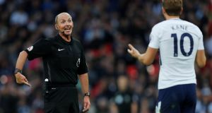 Tottenham's Harry Kane appeals to referee Mike Dean for a penalty. Photograph: Eddie Keogh/Reuters