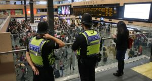 British Transport Police at Euston Station, London, after a terrorist incident on a packed underground train. Photograph: Tim Ireland/PA Wire