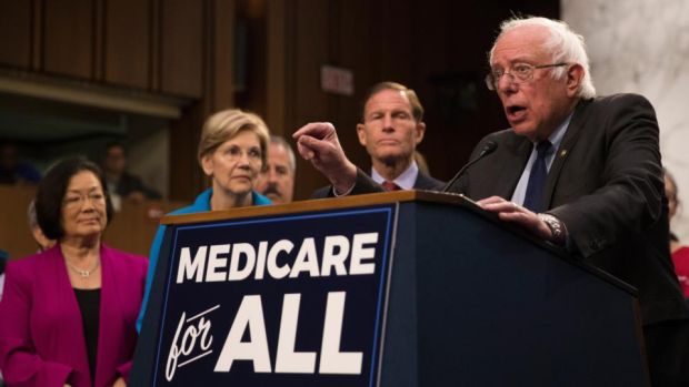Medicare for all: Bernie Sanders hasn't said how much his plan would cost or how to pay for it. Photograph: Tom Brenner/New York Times