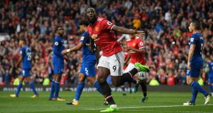 Romelu Lukaku was on target again for Manchester United on Sunday. Photograph: Stu Forster/Getty