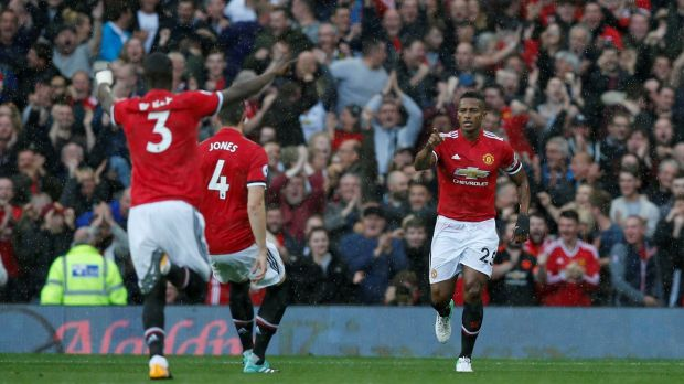 Antonio Valencia opened the scoring for Manchester United at Old Trafford. Photograph: Andrew Yates/Reuters