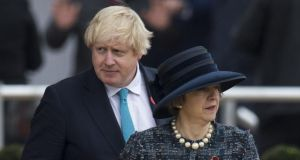 Boris Johnson and Theresa May in 2016: the UK foreign secretary has said little about Brexit since the referendum. Photograph: Mark Cuthbert/UK Press via Getty