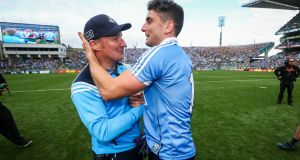 Dublin manager Jim Gavin and Bernard Brogan celebrate after the game. Photograph: Ryan Byrne/Inpho