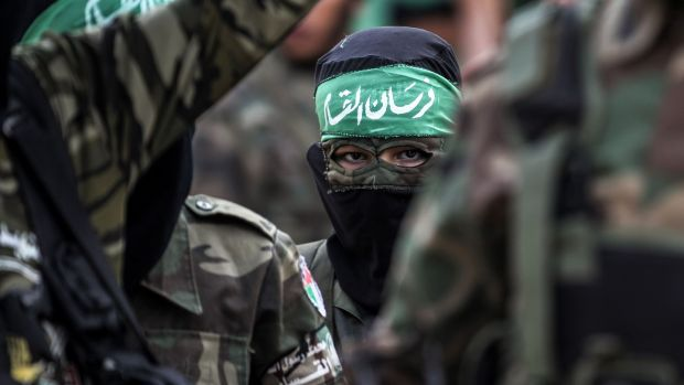 Masked youth cadets from the Ezzedine al-Qassam Brigades, the armed wing of the Palestinian Islamist Hamas movement, march in the southern Gaza Strip city of Khan Yunis on September 15th, 2017. Photograph: Said Khatib/AFP/Getty Images