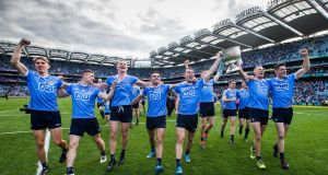 Dublin celebrate after narrowly beating Mayo 1-17 to 1-16  in Croke Park. Photograph: Tommy Dickson/Inpho