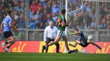 Jason Doherty of Mayo has his shot saved by Stephen Cluxton. Photograph:  Eóin Noonan/Sportsfile via Getty Images