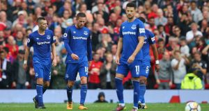 Morgan Schneiderlin, Gylfi Sigurdsson and Kevin Mirallas after losing at Old Trafford. Everton's new-look attack is dismally short on speed and power. Photograph: Alex Livesey/Getty Images