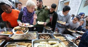 Saturday's Sligo Global Kitchen at the Model Art Gallery, where lunch was cooked by Syrian refugees based in Ballaghaderreen, Co Roscommon. Photograph: Brian Farrell