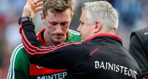 Mayo manager Stephen Rochford consoles Cillian O'Connor after the game. Photograph: Tommy Dickson/Inpho