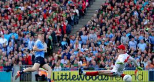 Cillian O'Connor misses a late free for Mayo. Photograph: Ryan Byrne/Inpho