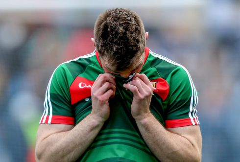 DESPAIR: Seamus O'Shea dejected at the final whistle after Mayo lost the All-Ireland final by a point to Dublin for the second year in a row. Photograph: James Crombie/Inpho