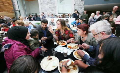 BUILDING BRIDGES: Syrian refugees based in Ballaghaderreen, Co Roscommon, joined Sligo Global Kitchen to cook a meal for the local community on Saturday. Photograph: Brian Farrell