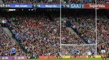 All-Ireland champions: Dean Rock kicks Dublin's winning point against Mayo. Photograph: Ray McManus/Sportsfile via Getty